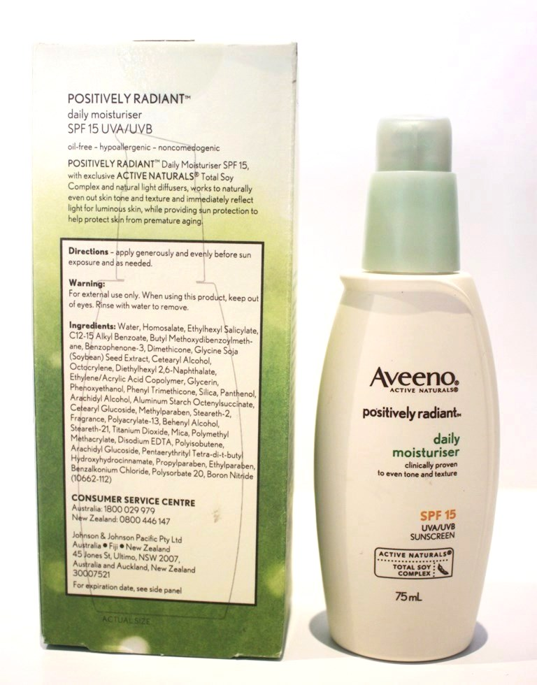 Aveeno Positively Radiant Daily Moisturiser and package
