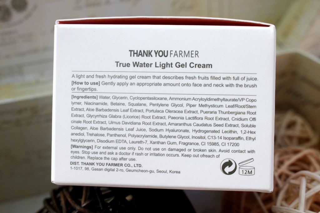 Thank You Farmer True Water Light Gel Cream Ingredients