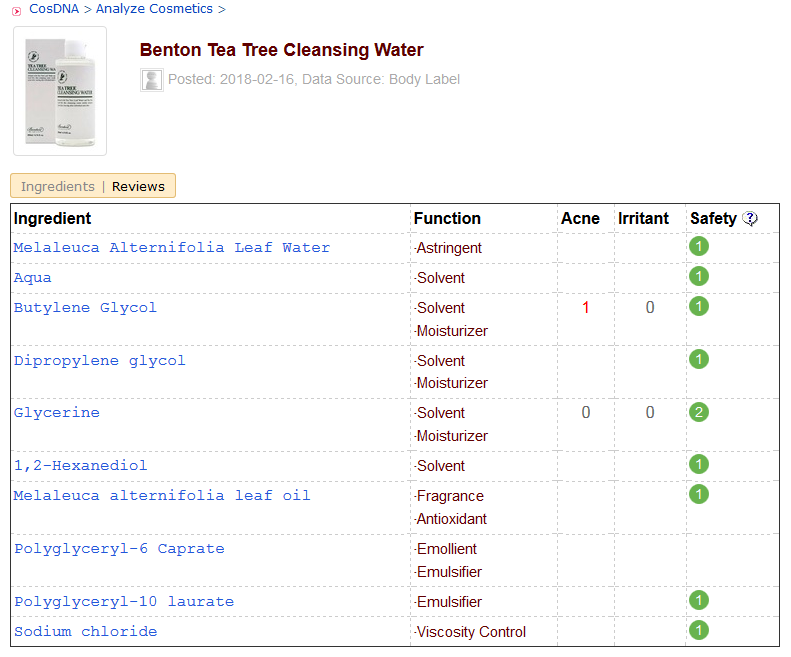 Benton Tea Tree Cleansing Water CosDNA Analysis
