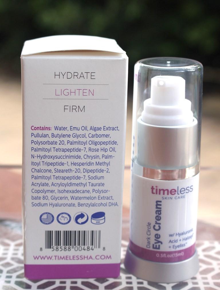 Timeless Dark Circle Eye Cream Ingredients