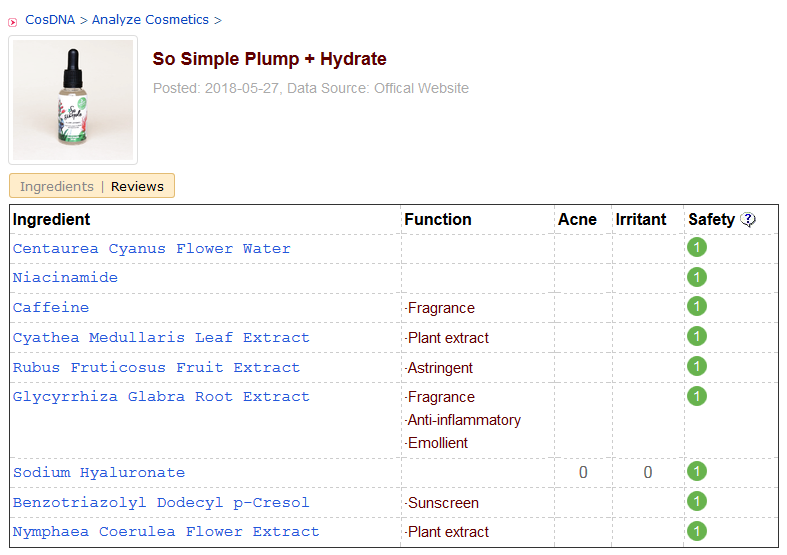So Simple Plump + Hydrate CosDNA Analysis