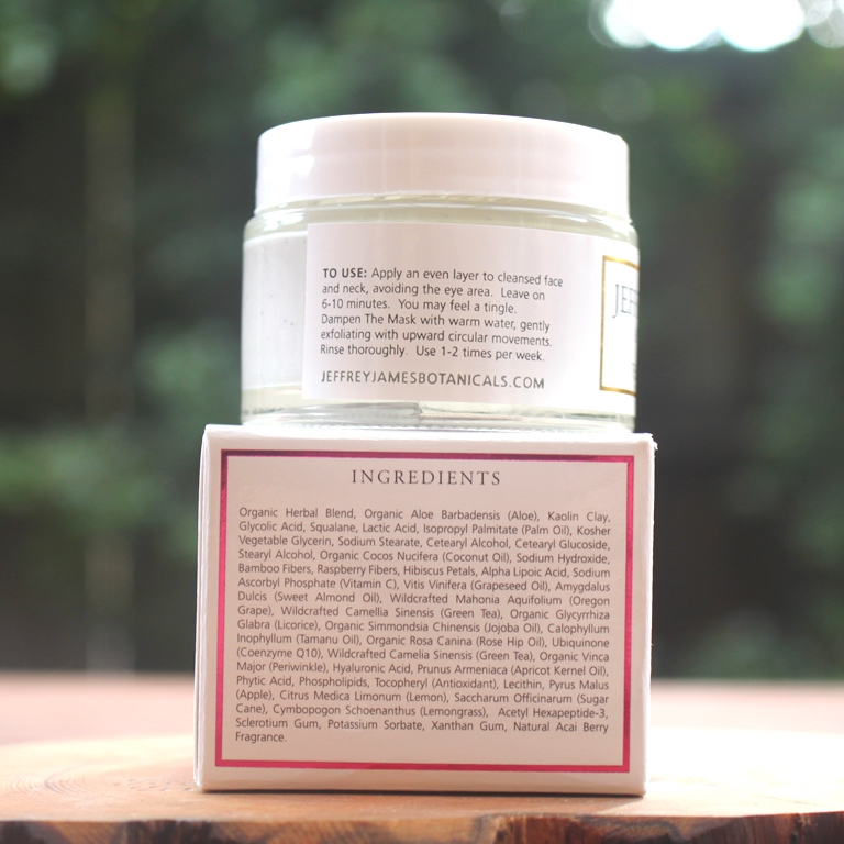 Jeffrey James Botanicals The Mask Ingredients