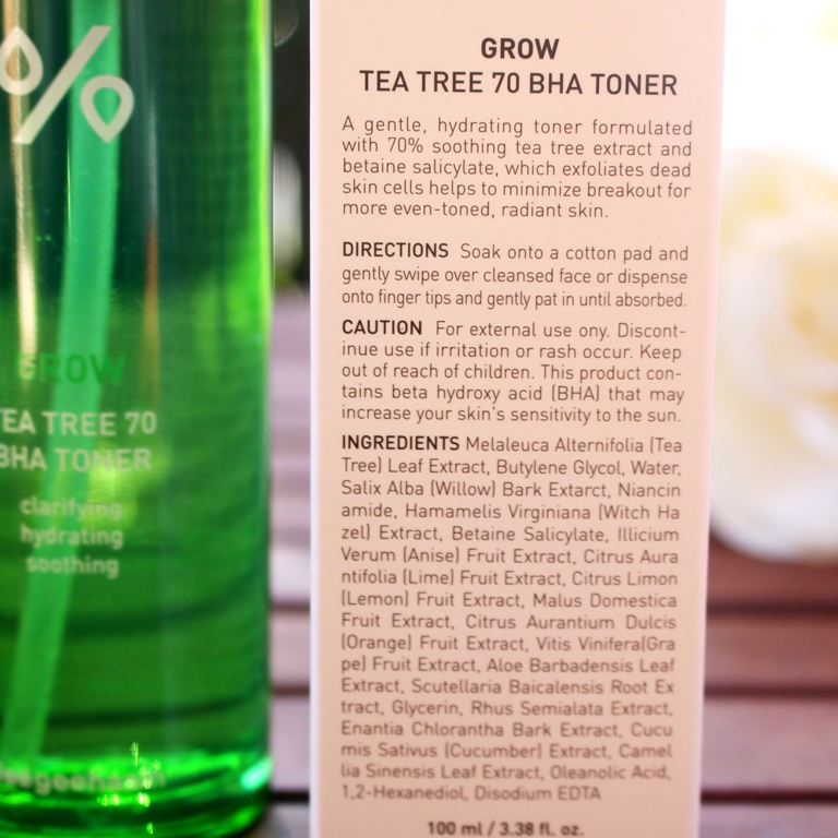 Dr. Ceuracle Grow Tea Tree 70 BHA Toner Ingredients