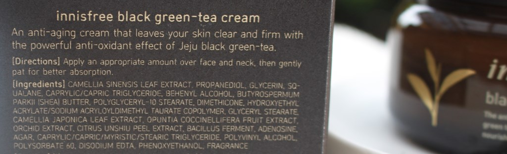 Innisfree Black Green-Tea Cream Ingredients