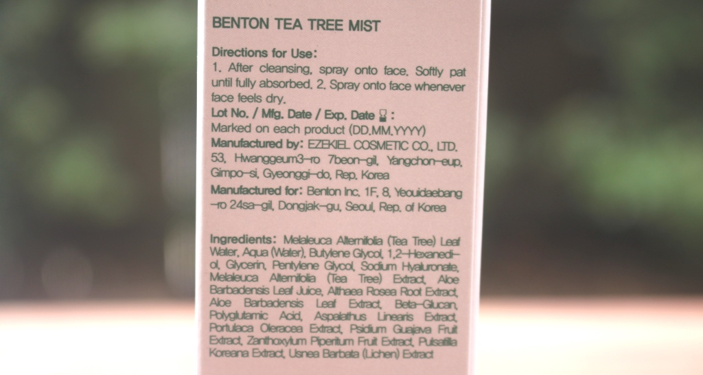 Benton Tea Tree Mist Ingredients