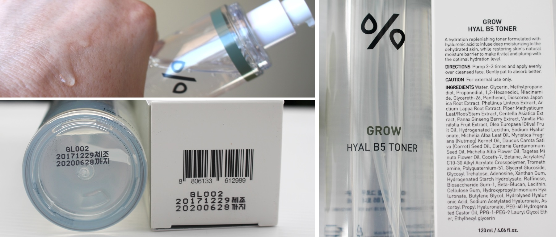 LGH Grow Hyal B5 Toner - Texture, Ingredients and Expiry
