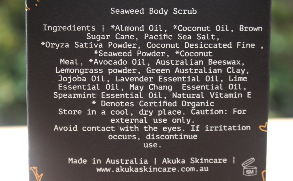 Akuka Seaweed Body Scrub Ingredients