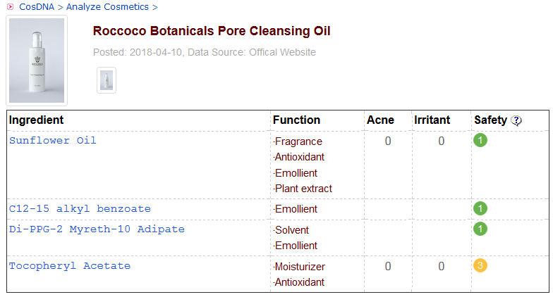 Roccoco Pore Cleansing Oil CosDNA Analysis