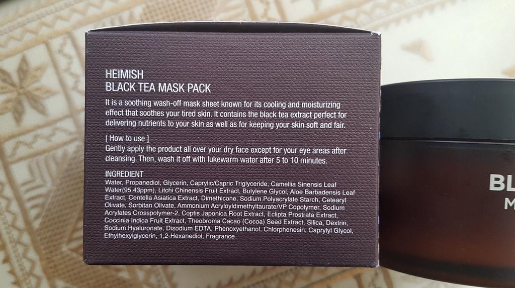 Heimish Black Tea Mask Pack Ingredients