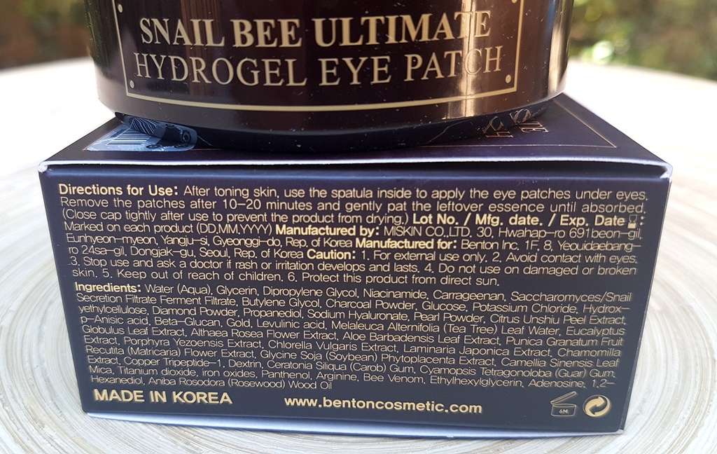 Benton Snail Bee Ultimate Hydrogel Eye Patch Ingredients