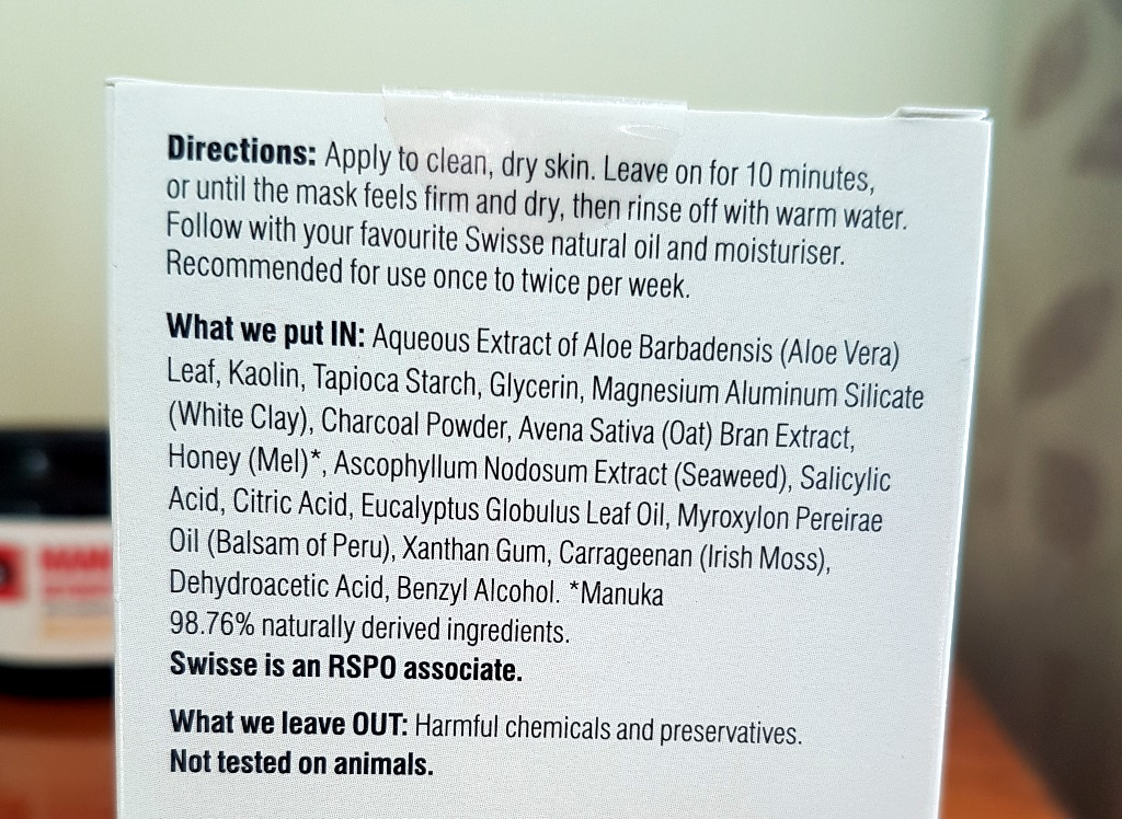 Swisse Manuka Honey Mask Ingredients