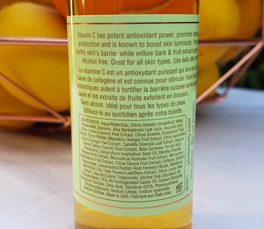 Pixi Vitamin C Tonic Ingredients