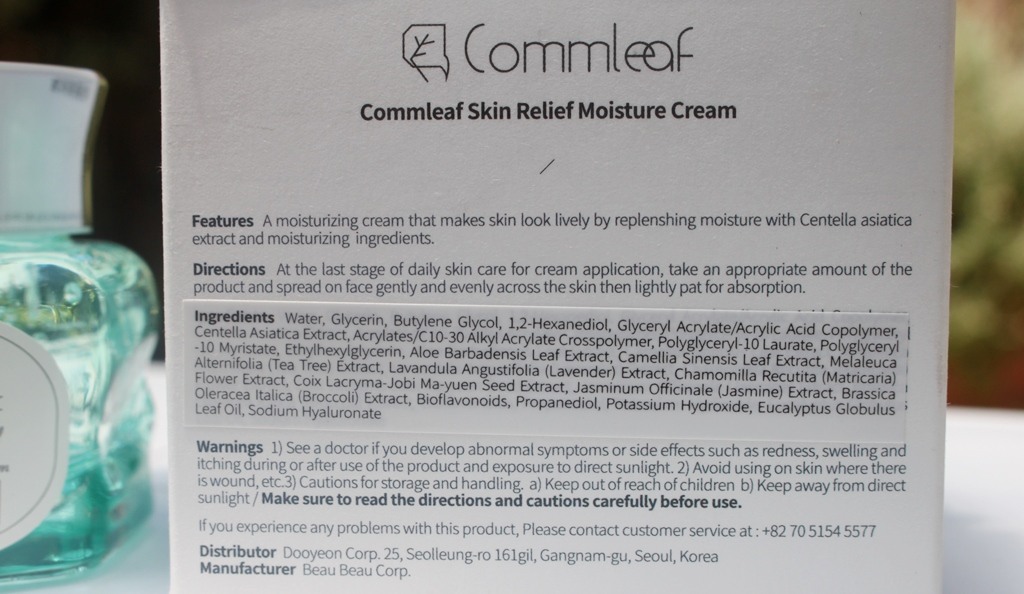 Commleaf Skin Relief Moisture Cream Ingredients