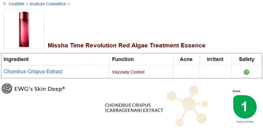 Missha Red Algae Treatment Essence Analysis