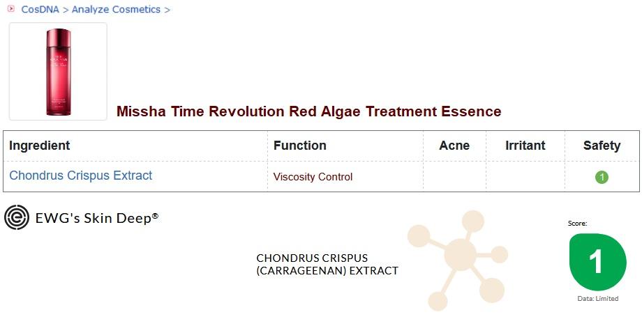Missha Red Algae Treatment Essence Analysis