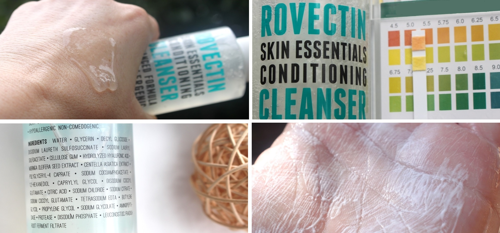 Style Korean Rovectin Set - Conditioning Cleanser texture, pH reading, ingredients and microfoam