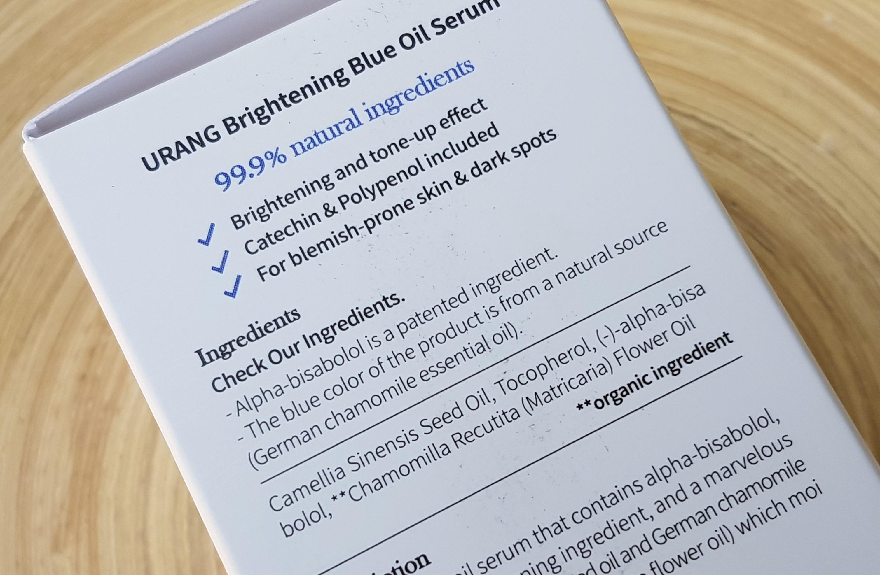 Urang Brightening Blue Oil Serum Ingredients